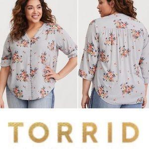 TORRID Harper Floral Challis Blouse, Sz 3